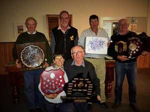 "Working Kelpie Council Trophy winners at the 2015 National Kelpie Field Trial Championships held at ""Connorville"", Cressy, Tasmania. Back row L to R: Peter Darmody (NSW), Gordon Curtis (WA), Kevin Howell (NSW), Gary white (NSW). Front row L to R: Karen Buller (WA), Rex Hocking (SA) – absent Sarah Mortimer (QLD)"